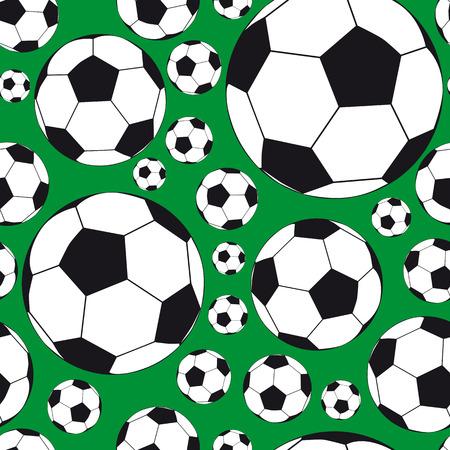 voetbal silhouet: Naadloze achtergrond met voet ballen. Afbeelding voor uw ontwerp Stock Illustratie