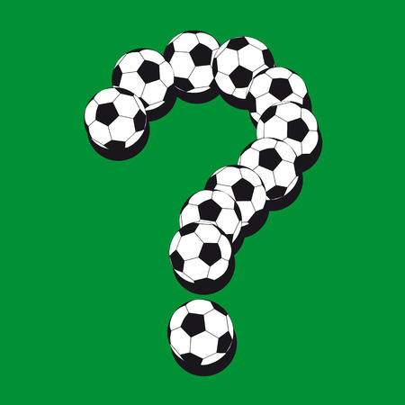 Question mark made from soccer balls. Illustration for your design Vector