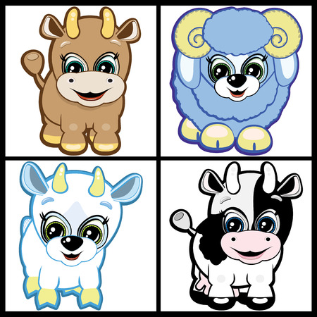 Set of Little Animals – Farm. Vector