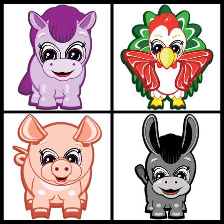 year of rooster: Conjunto de Little Farm ? de los animales.  Vectores