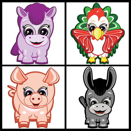 Set of Little Animals � Farm. Vector