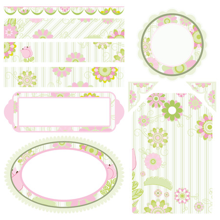 Set of elements for design.  Collection for Mom.  Floral motive.   Vector