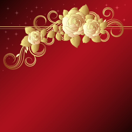 Red background with golden roses,  illustration  Vector