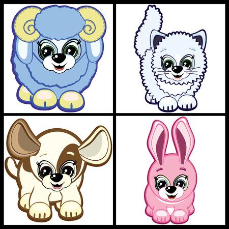 Set of Little Animals – Farm. Vector