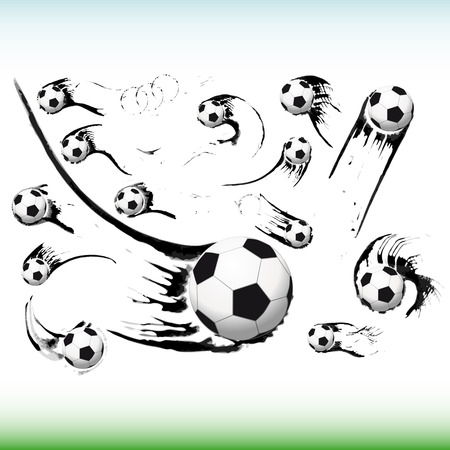 Set of flying soccer balls. Vector