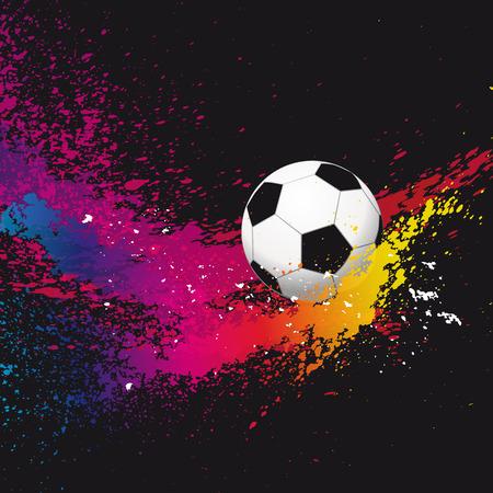 arquero futbol: Los coloridos balones de f�tbol sobre un fondo negro. Vectores