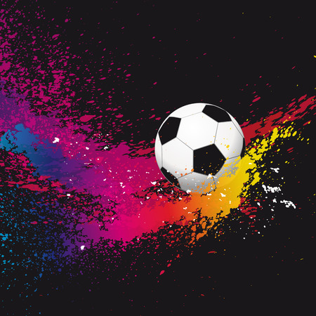 soccer stadium: The colorful footballs on a black background.