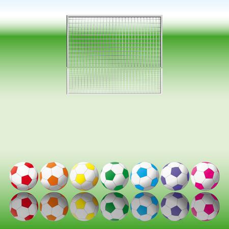 Soccer balls to soccer net. Vector