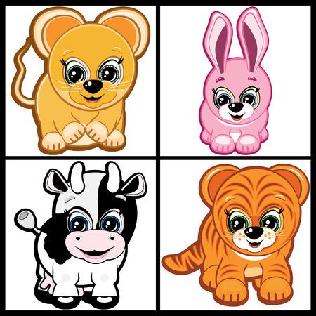 newborn rat: Little Animals -  symbols of the Chinese horoscope. Part Three. Illustration