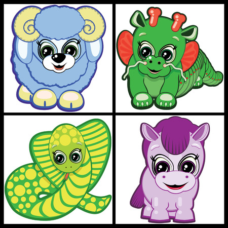 Little Animals -  symbols of the Chinese horoscope.  Part Two. Vector
