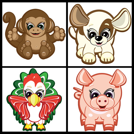 Little Animals -  symbols of the Chinese horoscope. Part One. Vector