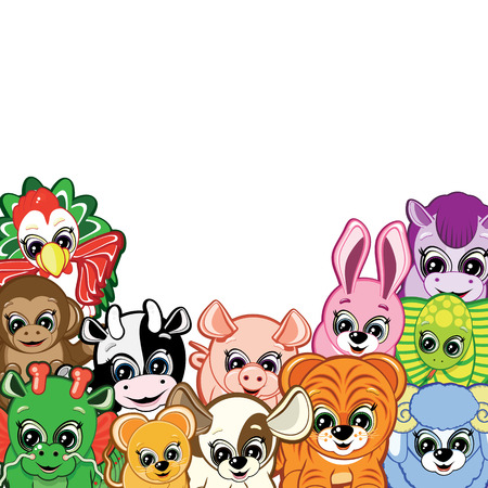 newborn rat: Little Animals -  symbols of the Chinese horoscope Illustration