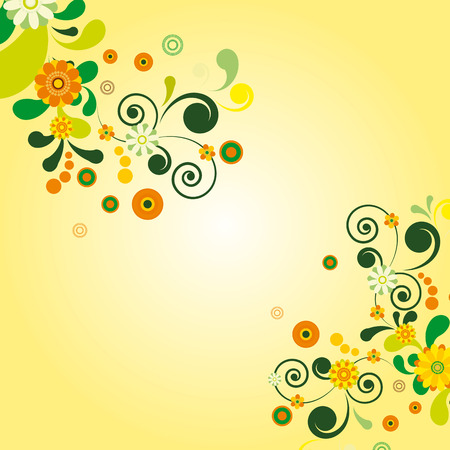 Sun floral background. Illustration for your design Vector