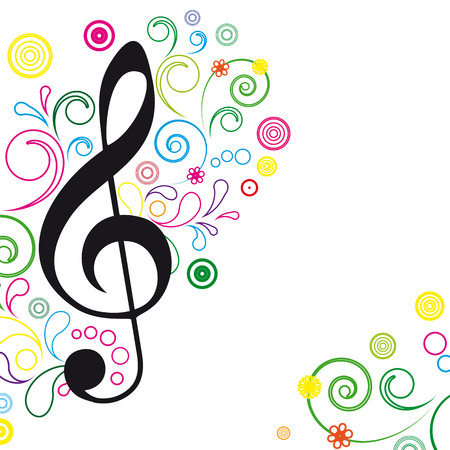 Music Floral Background. Vector