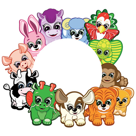 feliz navidad: Frame of Little Animals -  symbols of the Chinese horoscope