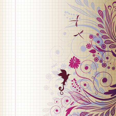 dragonfly art: sketch flower Illustration