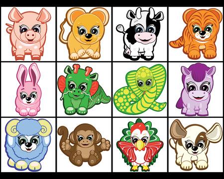 cow bells: Conjunto de animales Little - s�mbolos del hor�scopo chino