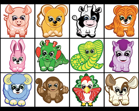 Set of Little Animals -  symbols of the Chinese horoscope Stock Vector - 7194727