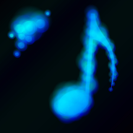 block note: Blue glow music note. Illustration for your design.