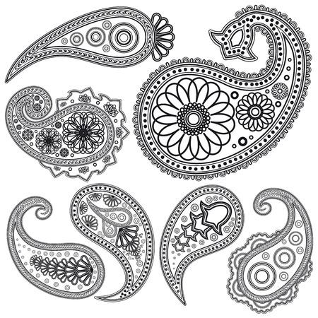 paisley: EPS Vintage Paisley wzorce dla projektu. Ilustracji dla twojego projektu.  Ilustracja