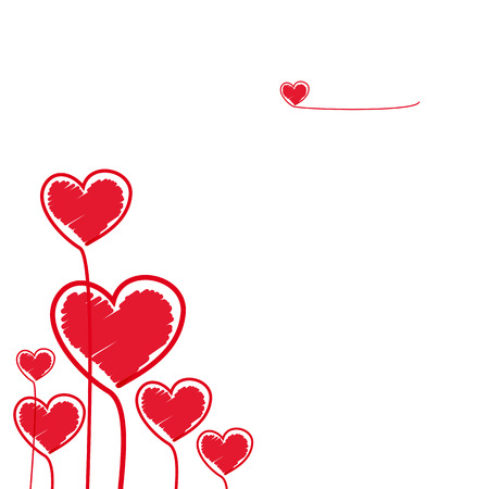 Red Hearts Illustration for your design. Vector