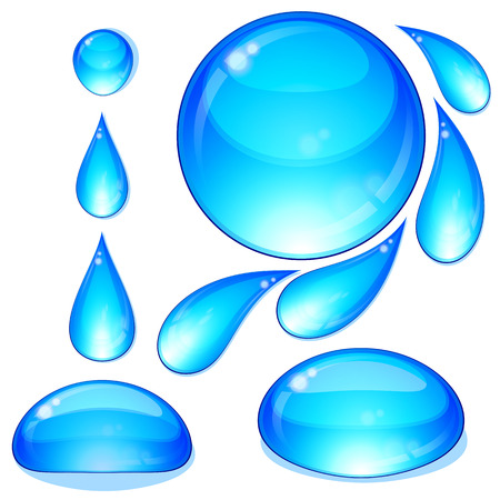 Eps Set of water drops and bubbles. Illustration for your design. Vector