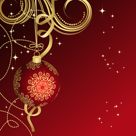 Red Christmas ball Illustration for your design. Vector