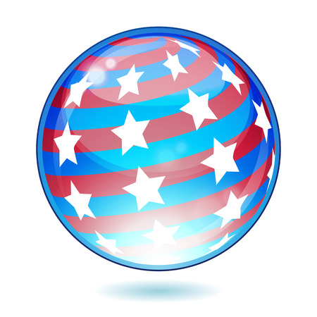 USA America shiny button flag - vector illustration. Isolated abstract object against white background.  Vector