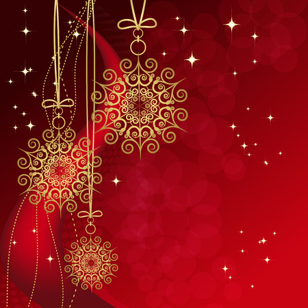 Red card with christmas snowflakes, vector illustration Stock Vector - 7279377