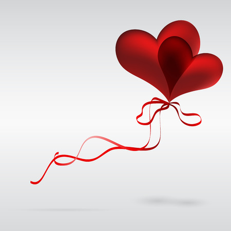 Flying a couple of balloons in the shape of a heart Illustration for your design. Vector