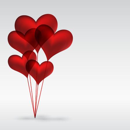 dating and romance: Copula Eps10 di palloncini di gel di rosso a forma di cuore