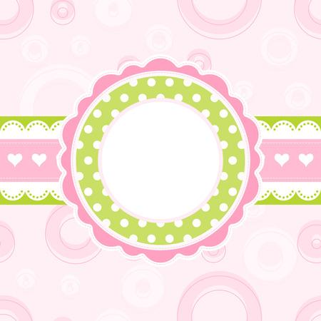 Baby girl arrival announcement card, vector Stock Vector - 7429425