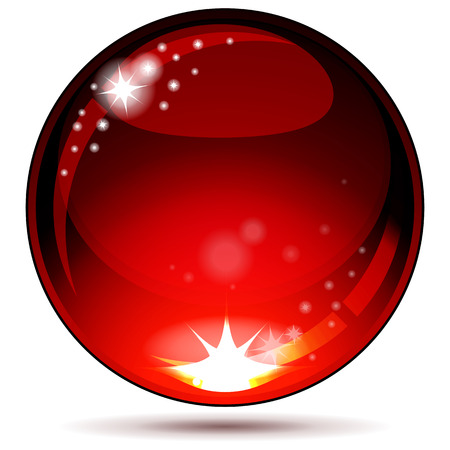Red glossy sphere isolated on white.  Vector