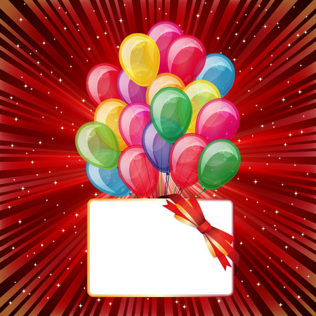 Colorful brightly backdrop with balloons, stars, card... -for your text or design. Vector