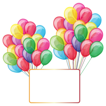color balloons with banner isolated on white Stock Vector - 7533291