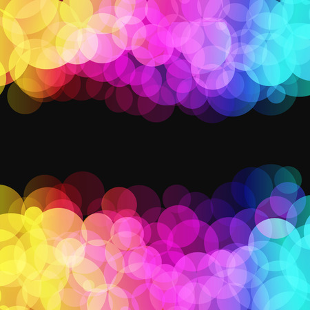 rainbow colours: illustration of blurred disco dots on dark background