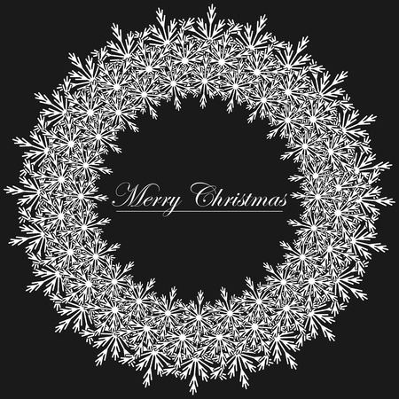 Black and White Christmas frame illustration.  Vector