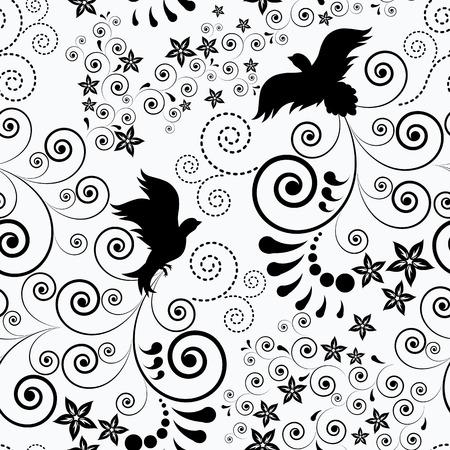 Bezszwowe tło z latającym ptakiem. Ilustracje wektorowe