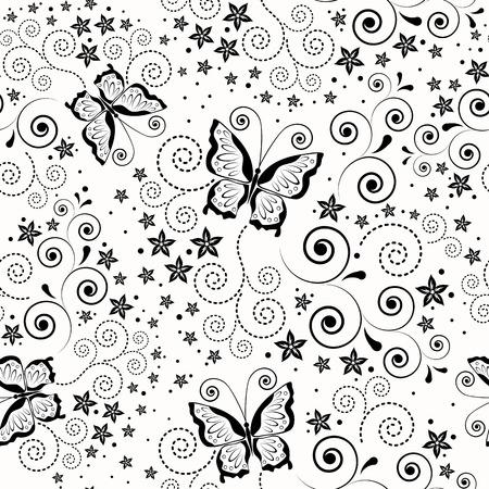 papel scrapbook: Fondo transparente con mariposas.  Vectores