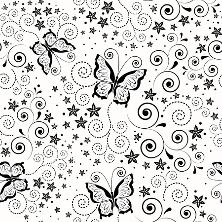 rococo style: Seamless background with butterflies.