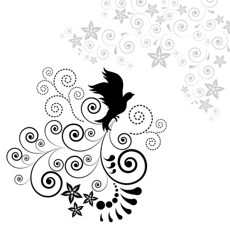 Background with a flying bird. Illustration for your design. Vector