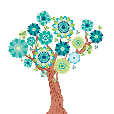 primavera: Abstract tree made of flowers. illustration