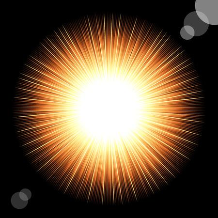 Sun in the black cosmic sky. illustration Stock Vector - 8145606