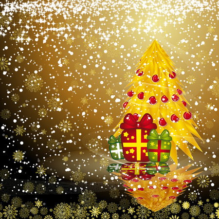 Fairy golden christmas tree with gifts on a dark snow background. Vector eps10 illustration  Vector
