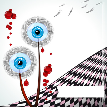 eyes wide open: Blue-eyed dandelions - emo card.