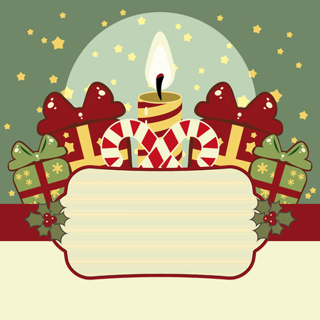 Retro Christmas background with candles, gifts and banner Stock Vector - 8174372
