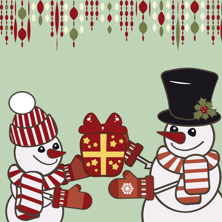Retro Christmas card with a snowmen. Vector