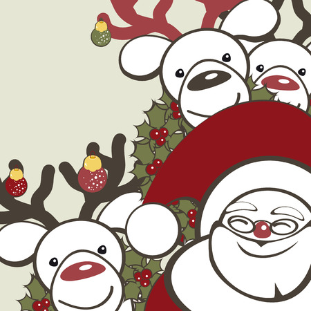 Christmas background with funny reindeers and Santa Claus. Vector