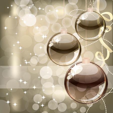 bronze: Christmas background with transparent balls Illustration