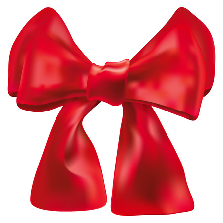 red double bow over white Vector